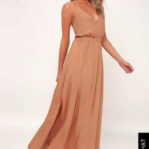 NWOT lulus LOST IN PARADISE LIGHT BROWN MAXI DRESS
